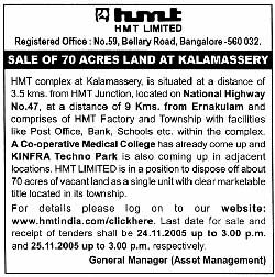 HMTland sale advertised in Economic Times Mumbai Edition on October 29, 2005