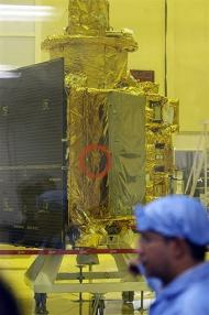 The Satellite Chandrayaan-1 spacecraft, India's first moon mission craft