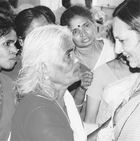 CPI(M) politburo member Brinda Karat interacting with rural womens
