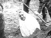 A woman is pictured being prepared for stoning in Iran