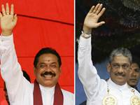 A combo picture of Presidential candidates Mahinda Rajapaksa and former military chief Gen. Sarath Fonseka