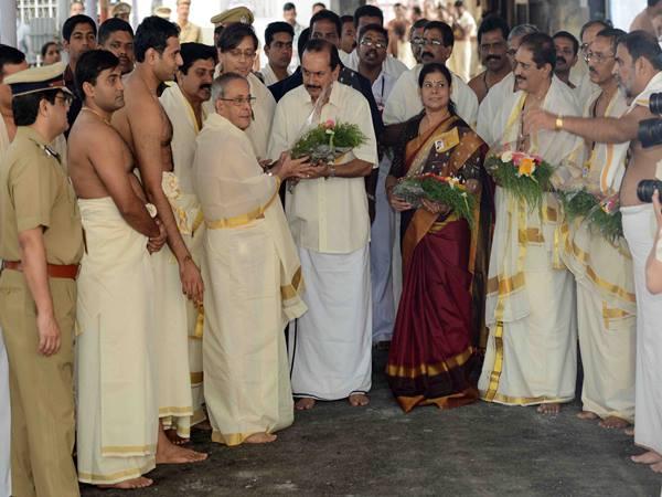 President Pranab Mukherjee Visited Sree Padmanabhaswamy Temple 123765 Pg