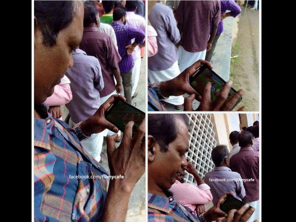 Salim Kumar Plays Hay Day Game While Standing Queue Cast His Vote