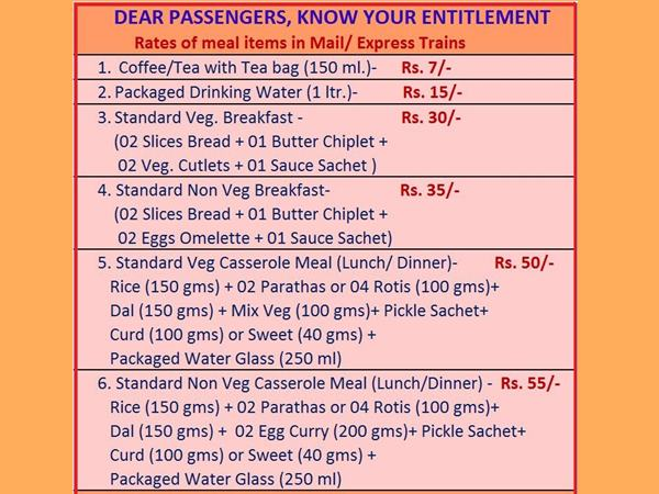 Railway Ministry Puts Food Tariff Trains Rs 50 Lunch Rs 30 For Breakfast