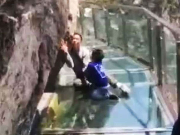 Dad Along Glass Skywalk In Video