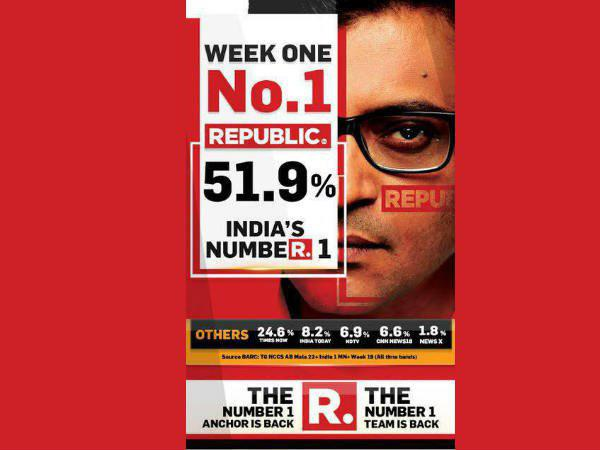 Republic Tv Bags First Position Barc Rating