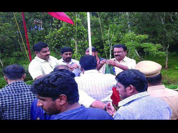 Bjp Leader Untied Bjp Flag From Dyfi Flag Post Idukki