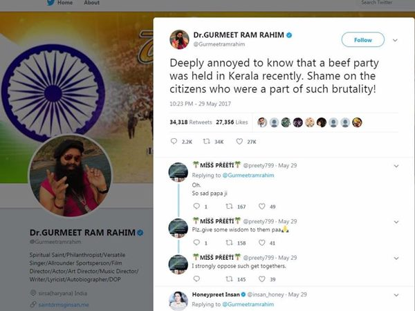Gurmeet Ram Rahim Tweet On Kerala Beef Tweet Goes Viral