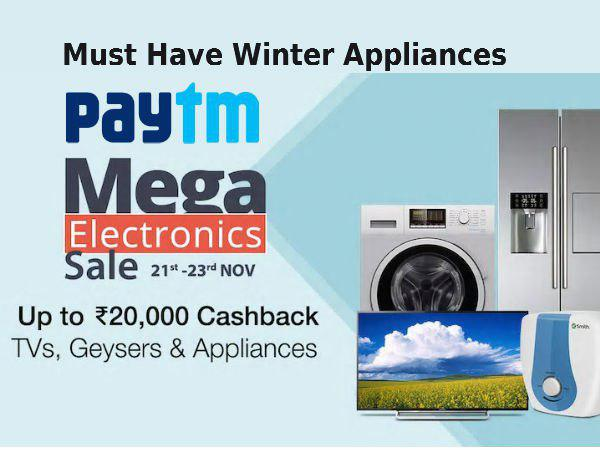 Winter Cash Back Offer Paytm 7 Appliances