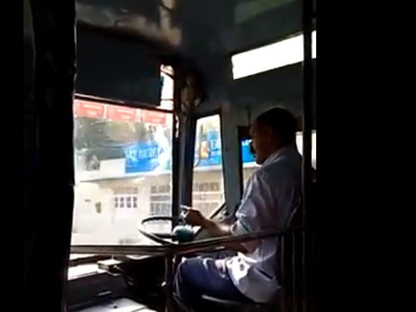 Ksrtc Driver Repairing Mobile Phone While Driving The Bus