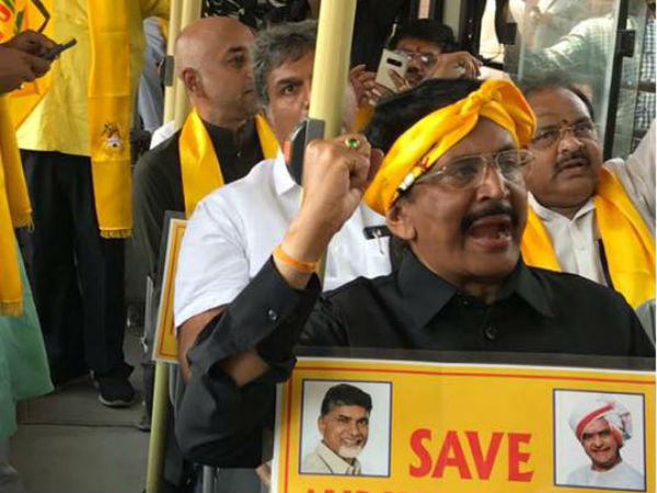 Andhra Pradesh Special Status Tdp Mps Stage Protest Near Pm Residence Detained