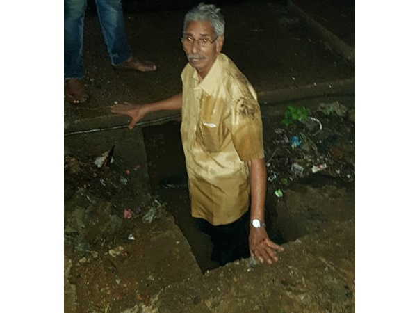 Old Man Was Injured By Falling Down In Drainage