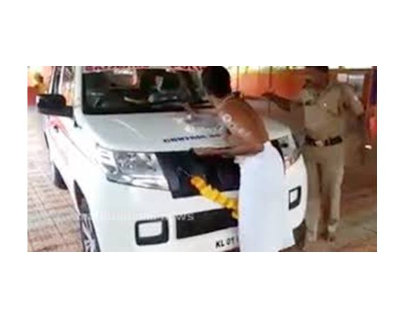 Police Vehicle In Controversy Over Pooja