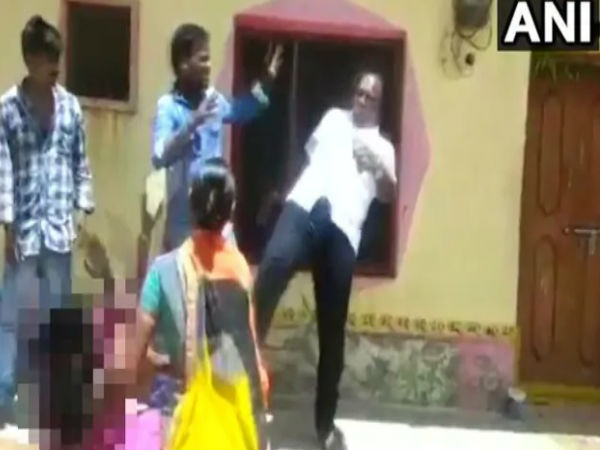 Local Body Chief Kicks Woman The Chest Video Goes Viral