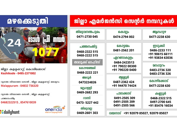 Kerala Rain Live Updates Toll Free Number For Emergency Contact