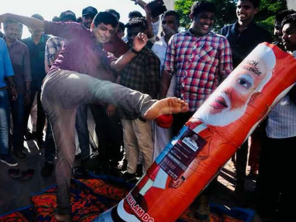 പഞ്ച് മോദി ചലഞ്ചിൽ കയ്യാങ്കളിയും കല്ലേറും.. ബിജെപി-സിപിഐ പ്രവർത്തകർ ഏറ്റുമുട്ടി, അഞ്ചലിൽ ഹർത്താൽ