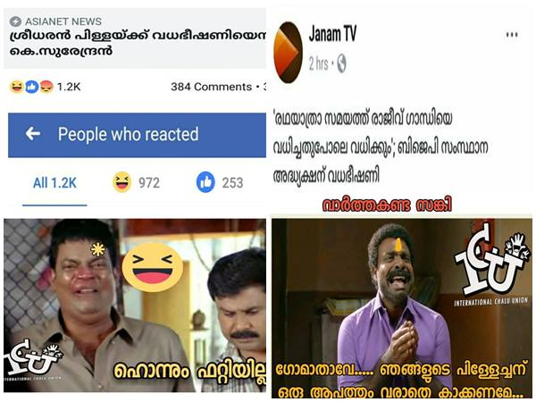 How Social Media Reacted To Death Threat Against Ps Dreedharan Pillai News