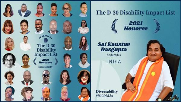 ഡി- 30 ഡിസെബലിറ്റി ലിസ്റ്റ് 2021; ഇന്ത്യയില് നിന്നുള്ള ഡോ സായ് കൗസ്തുവ് ദാസ്ഗുപ്തയും പട്ടികയില്