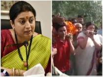Smriti Irani Helps To Carry Mortal Remains Of Bjp Worker Shot Dead At Amethi