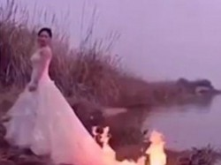 Bride Sets Gown Ablaze Perfect Wedding Picture