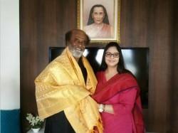 Congress Leader Nagma Meets Rajinikanth At His Residence