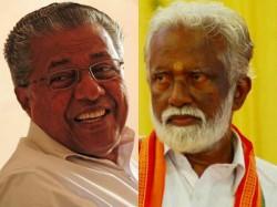 Pinaray Vijayan Fb Post Cutting Kummanam Rajasekharan From Photo