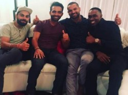 India Vs West Indies Virat Kohli Ms Dhoni Visit Dwayne Bravo Home Dinner