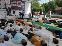 International Yoga Day Farmers Perform Shavasana Block Roads To Demand Relief