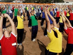 Nearly 3 Lakh Perform Yoga At One Place Set World Record